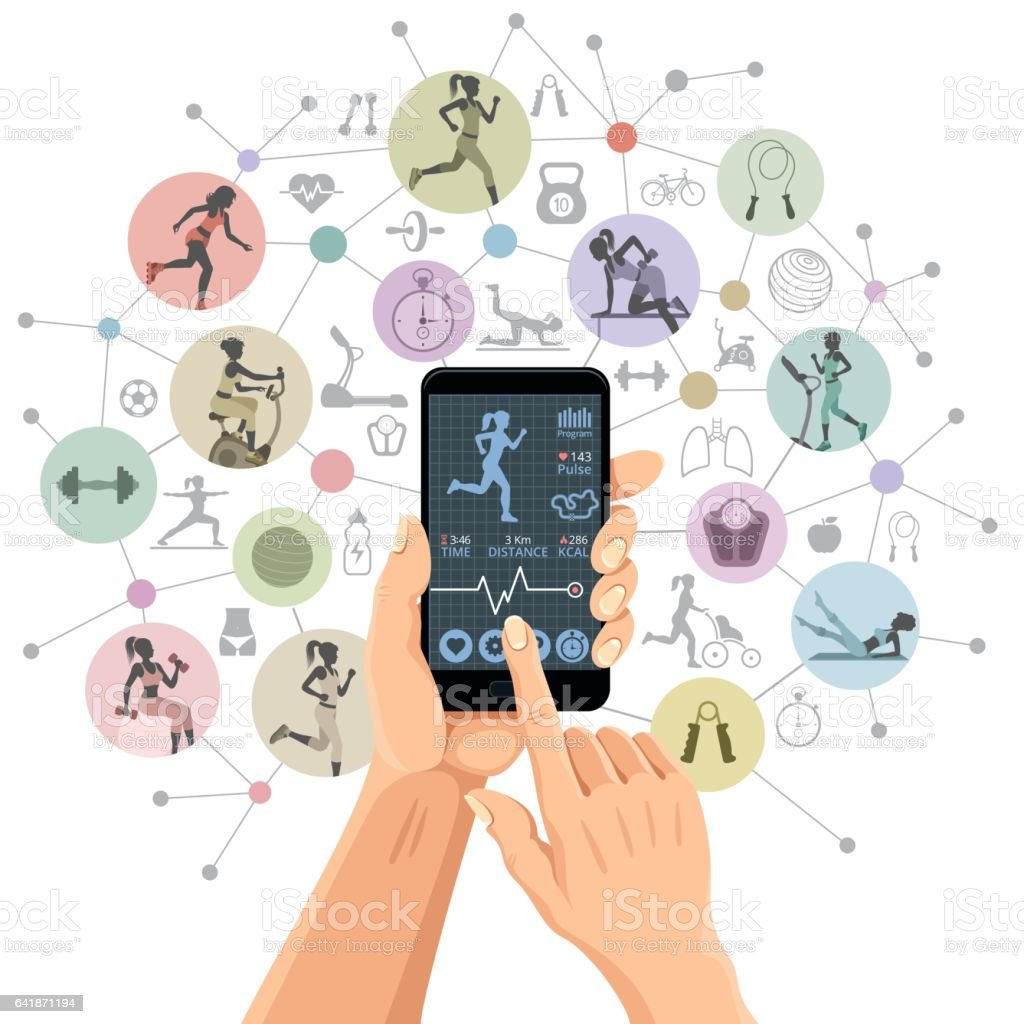 Fitness App vector art illustration