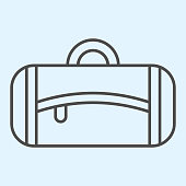 istock Fitness bag thin line icon. Textile handbag for gym equipment and clothes. Sport vector design concept, outline style pictogram on white background, use for web and app. Eps 10. 1206001107