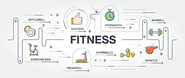 Fitness banner and icons