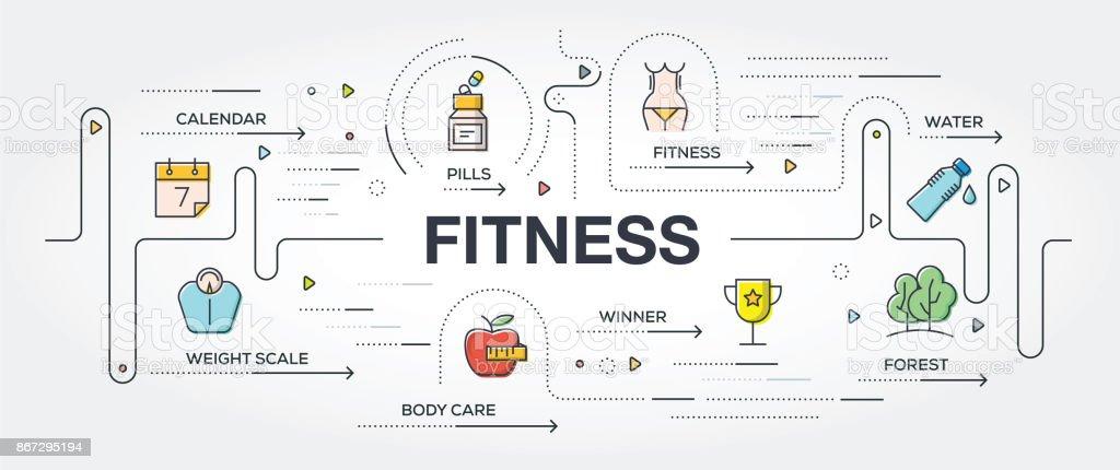Los iconos y el banner de fitness - ilustración de arte vectorial