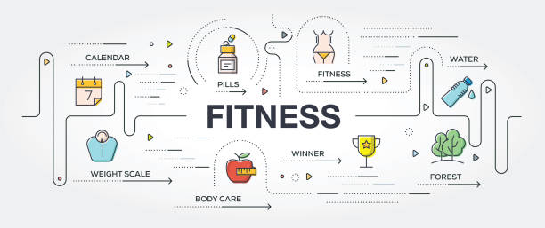 fitness banner and icons - workout calendar stock illustrations, clip art, cartoons, & icons