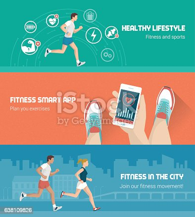 Fitness, technology and runners race banners set