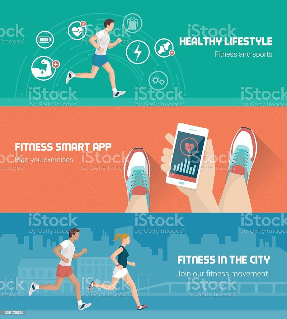 Fitness banner set vector art illustration