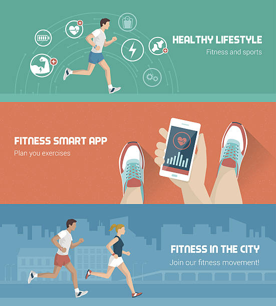 Fitness banner set vector art illustration