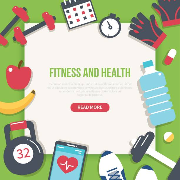 fitness banner - workout calendar stock illustrations, clip art, cartoons, & icons