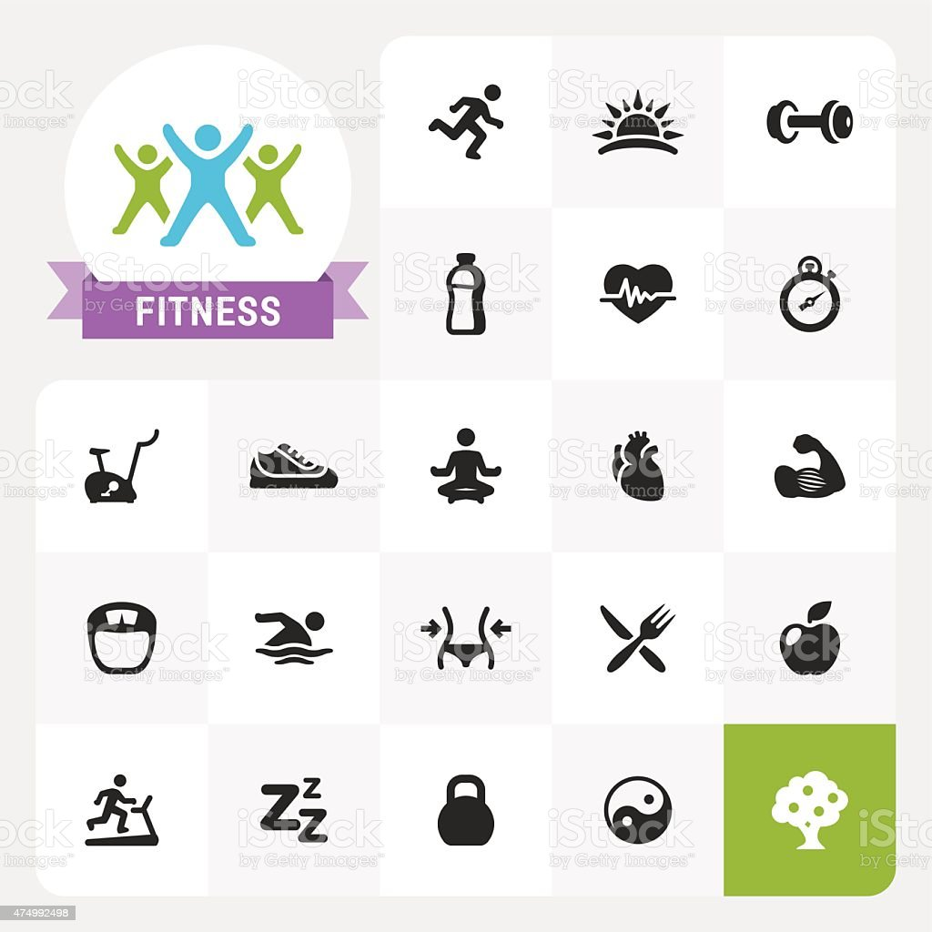 Fitness base vector icons and label vector art illustration