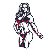 istock Fitness bikini woman or girl figure silhouette in old engraving vector art illustration or retro vintage emblem stamp isolated on white background 1136532804