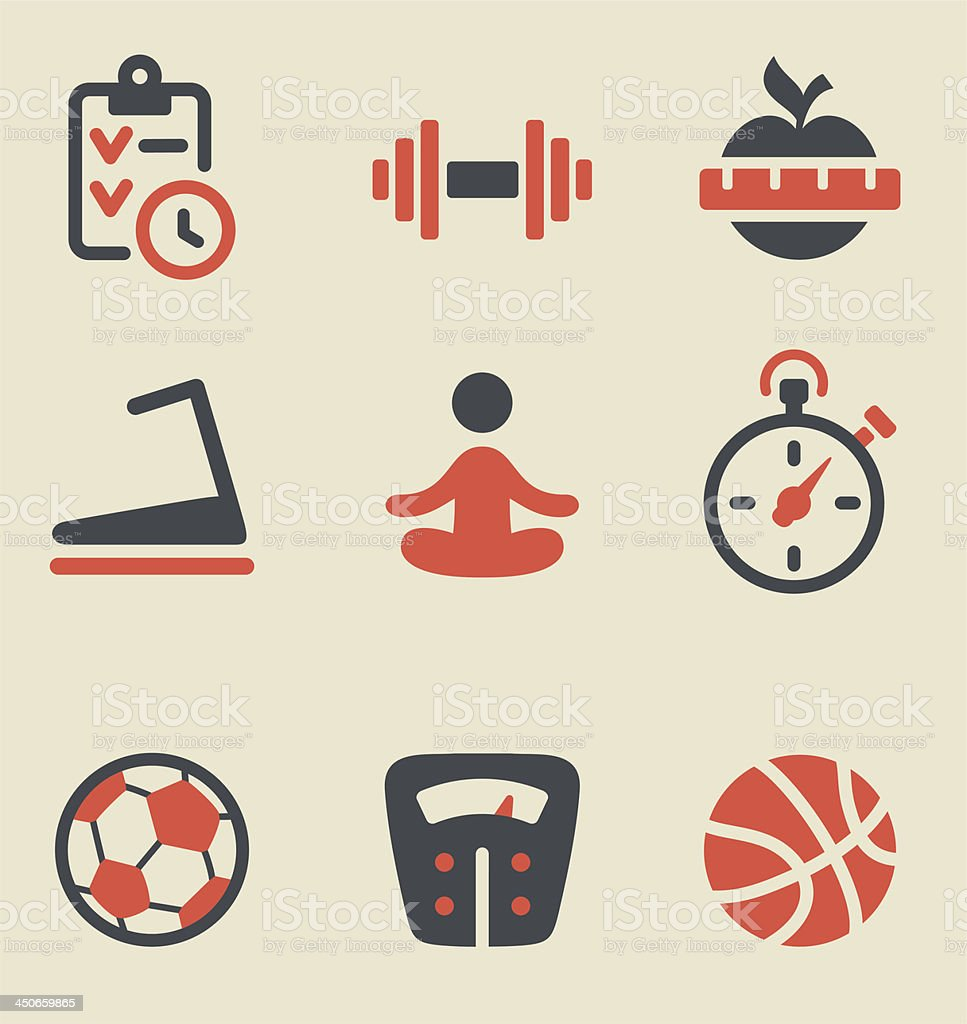 Fitness black and red icon set royalty-free stock vector art