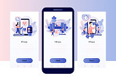 Fitness blog and Workout app concept. Tiny people are sport training. Screen template for mobile smart phone. Modern flat cartoon style. Vector illustration