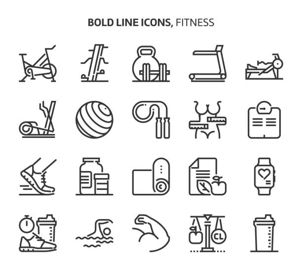 Fitness, bold line icons. Fitness, bold line icons. The illustrations are a vector, editable stroke, 48x48 pixel perfect files. Crafted with precision and eye for quality. exercise bike stock illustrations