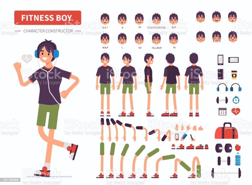 fitness boy vector art illustration
