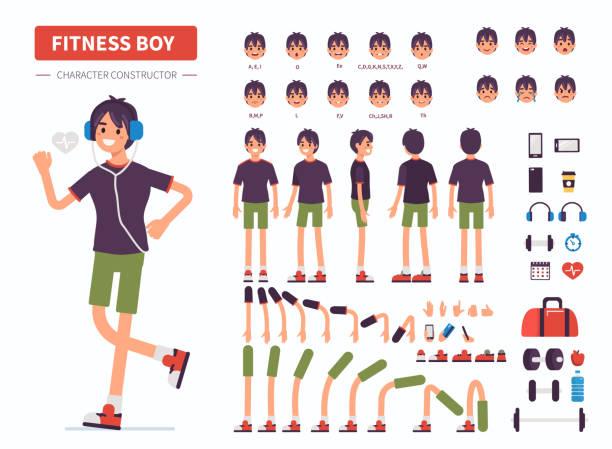 stockillustraties, clipart, cartoons en iconen met fitness jongen - menselijke ledematen