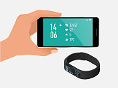 Fitness bracelet or tracker with a smartphone isolated on white. Sports accessories, a wristband with running activity steps counter and heartbeat pulse meter