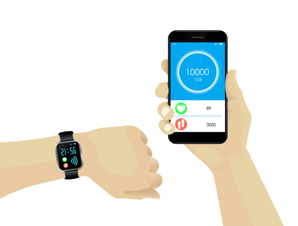 Fitness bracelet smartwatch and hand holding smartphone with infographics on pulse, calories and steps. Fitness bracelet smartwatch and hand holding smartphone with infographics on pulse, calories and steps. fitness tracker stock illustrations