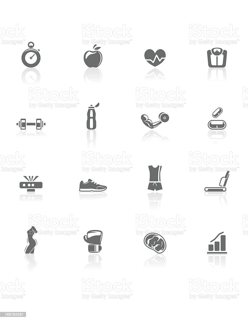 Fitness | BW Icons royalty-free stock vector art