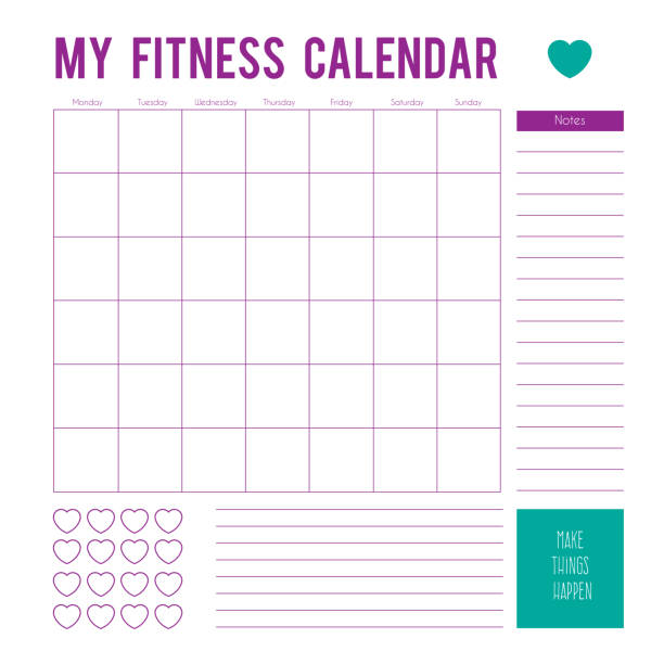 fitness calendar plan for a week,calendar page. vector printable boxes,half boxes, in flat colors for planners, printable to do pages for life planner. workout plan page - workout calendar stock illustrations, clip art, cartoons, & icons