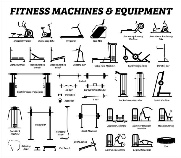 Fitness, cardio, and muscle building machines, equipments set at gym. Artworks depict a list of exercise workout tools, machines, and equipments in the gym room. exercise machine stock illustrations