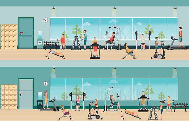 Fitness cardio exercise and equipment with people in fitness gym interior - Illustration vectorielle