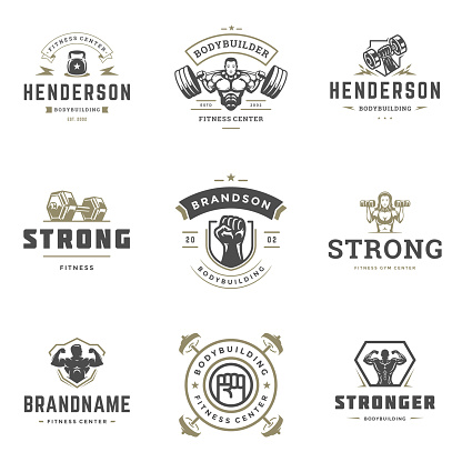 Fitness center and sport gym icons and badges design set vector illustration typographic labels with sport equipment
