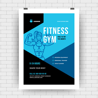 Fitness center flyer modern typographic layout event cover design template with woman silhouette
