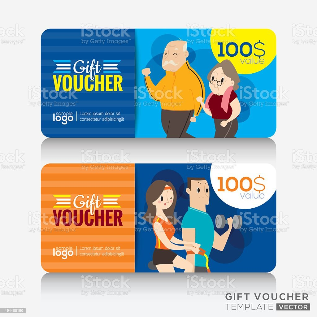 Fitness Center Gym Coupon Voucher Or Gift Card Design Template Stock ...