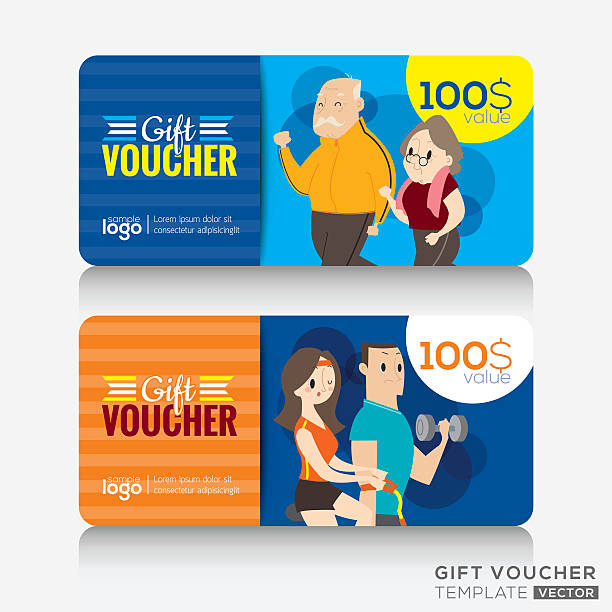 Fitness Center Gym Coupon Voucher Or Gift Card Design