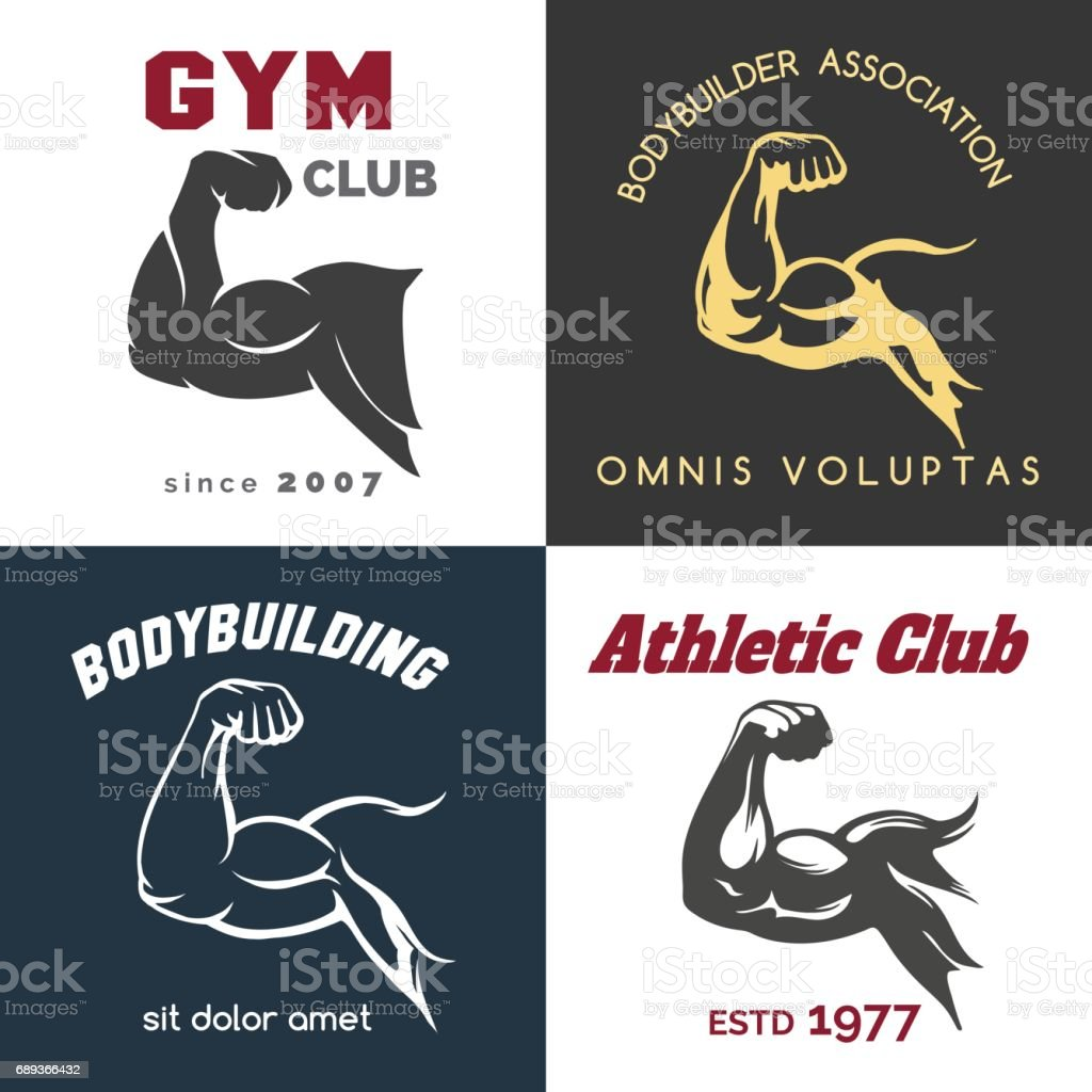 Fitness center icon set vector art illustration