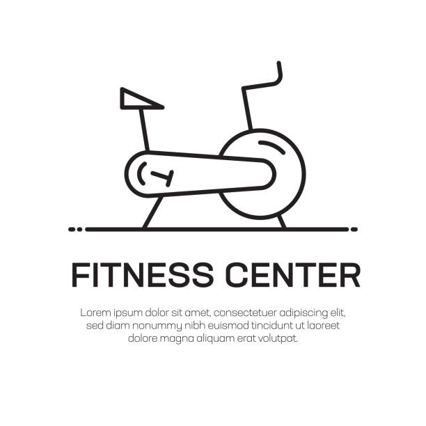 Fitness Center Vector Line Icon - Simple Thin Line Icon, Premium Quality Design Element Fitness Center Vector Line Icon - Simple Thin Line Icon, Premium Quality Design Element exercise machine stock illustrations