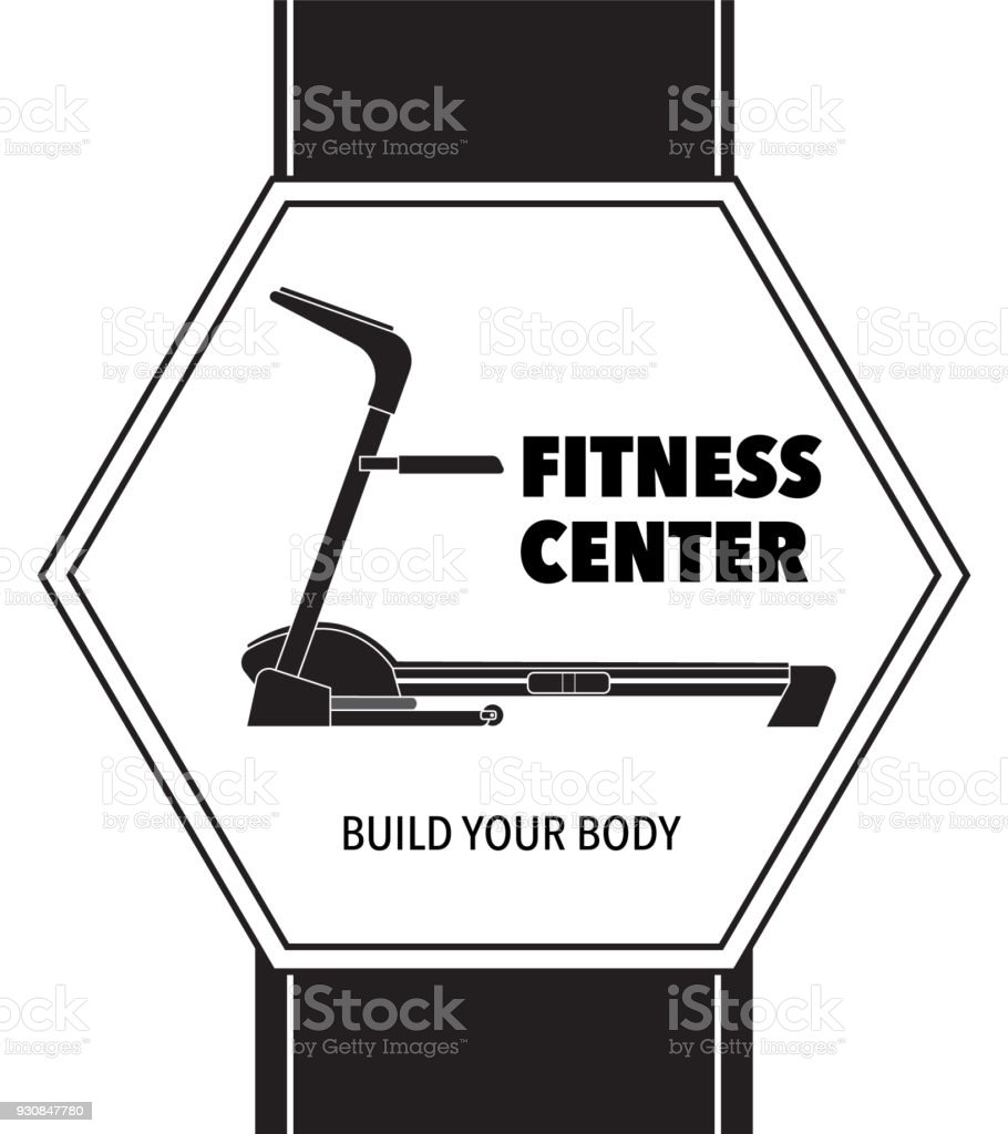 Centre De Fitness Sur Un Fond Noir Dans Une Image Silhouette Hexagone D