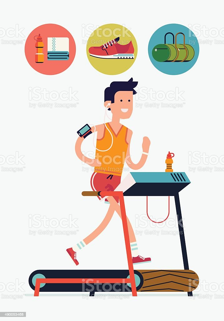 Fitness character on treadmill with running icons vector art illustration