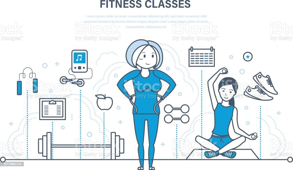 Fitness classes, healthy lifestyle, active sport and yoga, strengthening body royalty-free fitness classes healthy lifestyle active sport and yoga strengthening body stock vector art & more images of adult