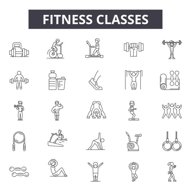 Fitness classes line icons for web and mobile design. Editable stroke signs. Fitness classes  outline concept illustrations Fitness classes line icons for web and mobile. Editable stroke signs. Fitness classes  outline concept illustrations active lifestyle stock illustrations