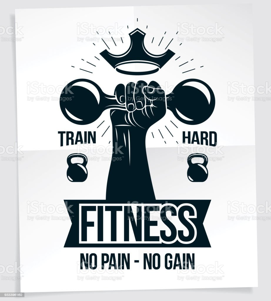 Fitness Club Advertising Poster Vector Composition Of ...