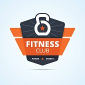 Fitness club emblem. Plastic transparent style in material design. Weight and star sign. Vector illustration for print or web design.