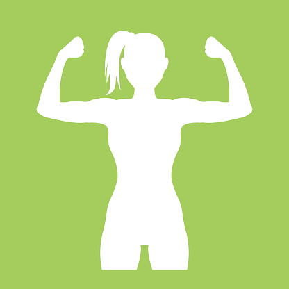Fitness club logo with woman silhouette. Woman shows her muscles