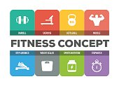 Fitness Concept Colorful Icons Set