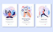 Yoga, fitness and healthy lifestyle concept illustration, woman meditating in lotus pose, perfect for banner, mobile app, landing page