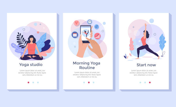 Fitness concept illustration. Yoga, fitness and healthy lifestyle concept illustration, woman meditating in lotus pose, perfect for banner, mobile app, landing page meditation stock illustrations