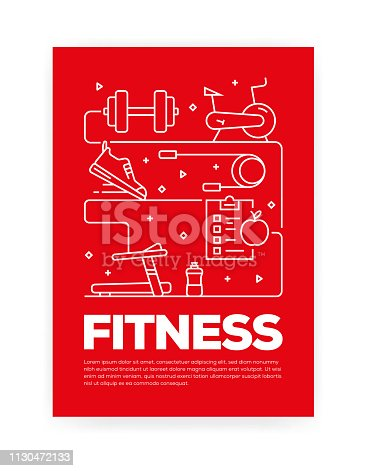 Fitness Concept Line Style Cover Design for Annual Report, Flyer, Brochure.