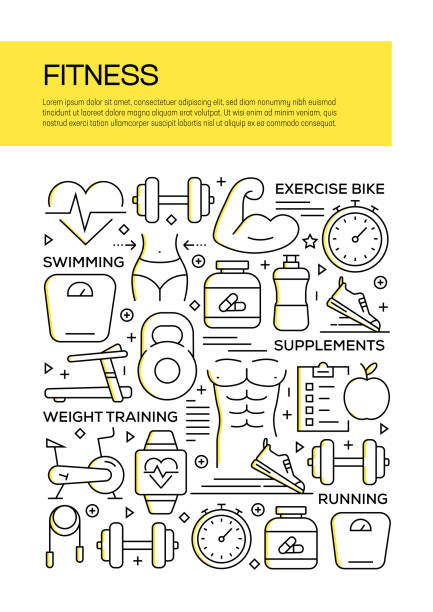 Fitness Concept Line Style Cover Design for Annual Report, Flyer, Brochure. Fitness Concept Line Style Cover Design for Annual Report, Flyer, Brochure. exercise machine stock illustrations