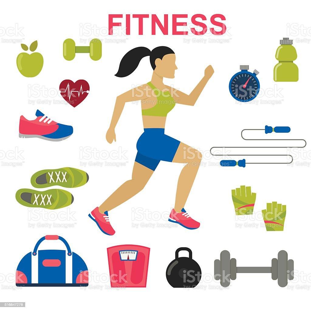 Fitness concept, vector flat background vector art illustration