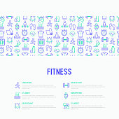 Fitness concept with thin line icons of running, dumbbell, waist, healthy food, swimming pool, pulse, wireless earphones, sportswear, yoga. Modern vector illustration for web page.