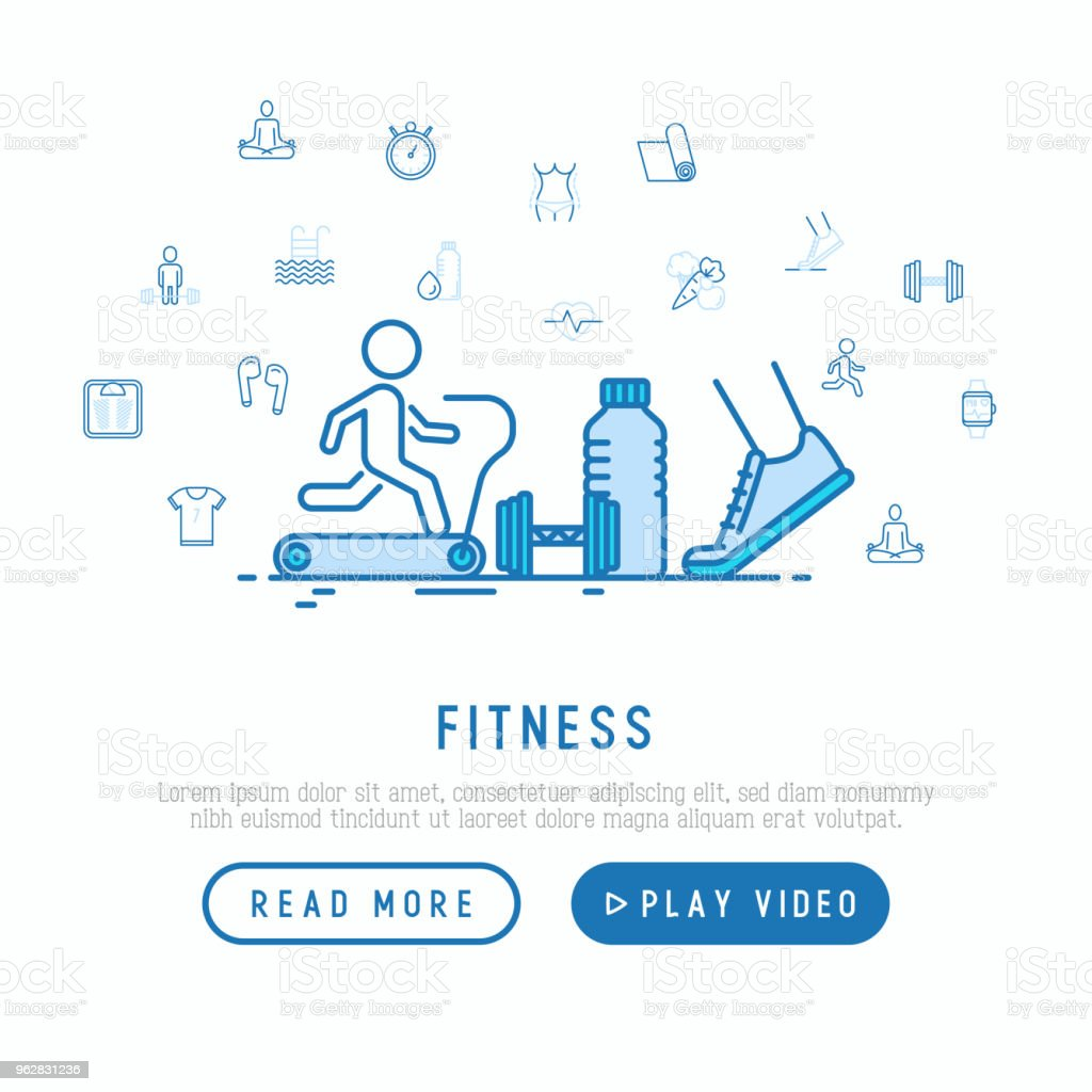 Fitness concept with thin line icons of running, dumbbell, waist, healthy food, swimming pool, pulse, wireless earphones, sportswear, yoga. Modern vector illustration, template for web page. - arte vettoriale royalty-free di Abbigliamento sportivo