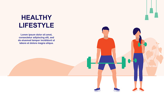 Fitness Couple Spending Time Doing Morning Exercise Together At Home. Healthy Lifestyle & Fitness For Indoor Concept. Vector Flat Cartoon Illustration.