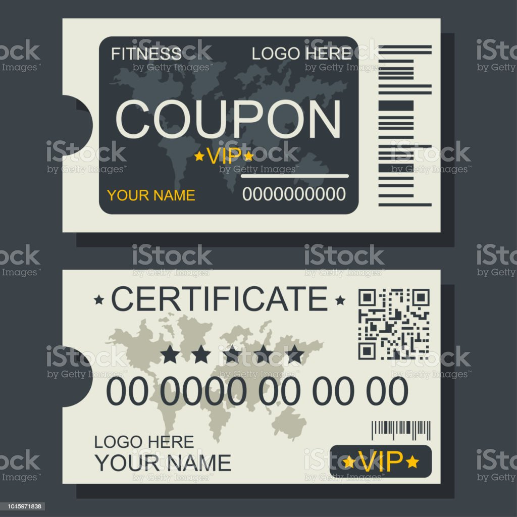 vip fitness coupon and certificate vector template with world map