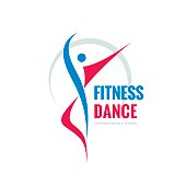 Fitness dance - abstract human character - vector logo template concept illustration. Creative design element.