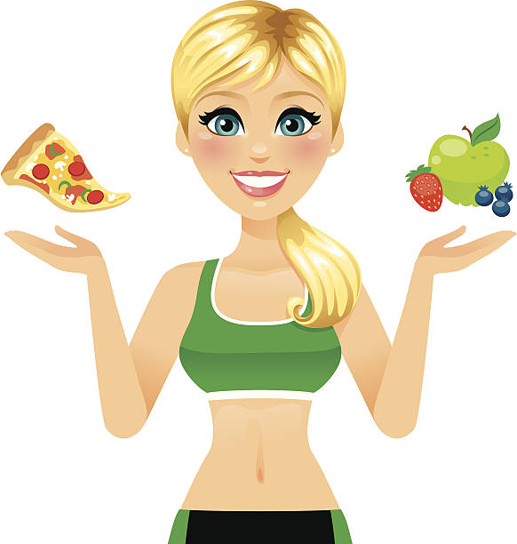 Fitness Diet Girl A beautiful and fit woman presenting pizza over one hand and and fruit over the other. Fruit is on separate layers and can be removed.  heyheydesigns stock illustrations