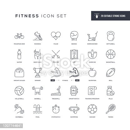 29 Fitness Icons - Editable Stroke - Easy to edit and customize - You can easily customize the stroke with