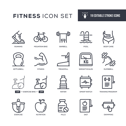 Fitness Editable Stroke Line Icons