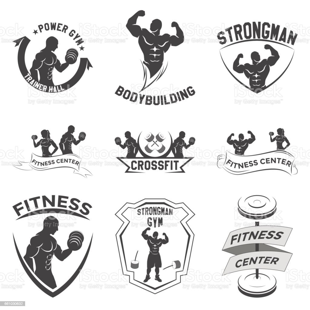 fitness emblems, icon design vector art illustration